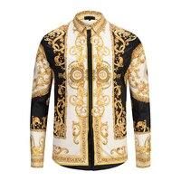PLstar Cosmos M XXL Men Gold Shirt 2018 New 3D Print Palace Long Sleeve Shirt Masculina