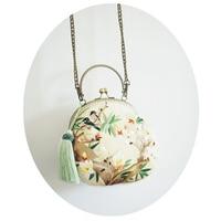 Edição limitada Saco Mulheres Embreagem Artesanal de Seda Bordado Floral Bolsa Bordada Pássaro Lótus Mini Lady Bolsa com Borla