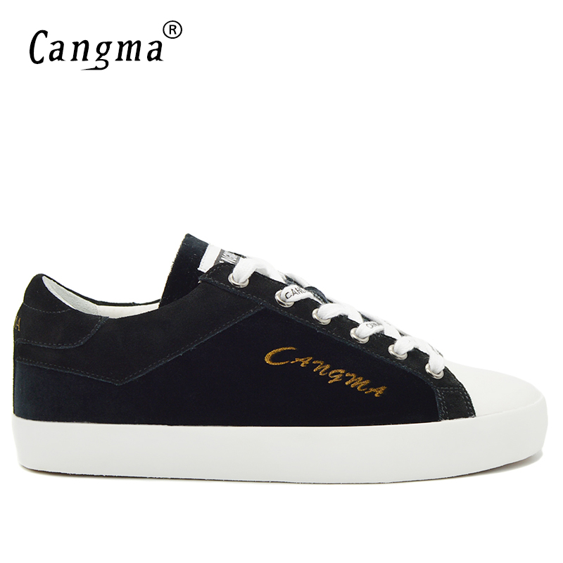 CANGMA Stylish Designer Man's Trainers Casual Shoes Mid Genuine Leather Sneakers Men Black Cow Suede Shoes Male Lace Up Flats 2017 england style men genuine leather cow new fashion lace up breathable casual shoes male vintage match color black coffee
