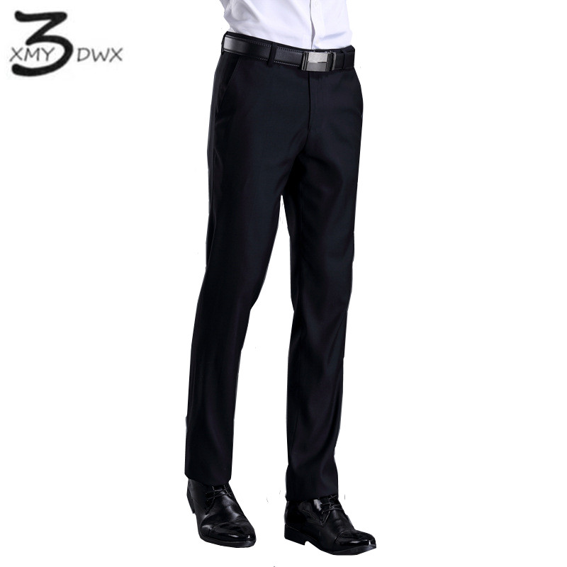 XMY3DWX New fashion male high grade slim fit business Suit pants Male leisure pure color Casual