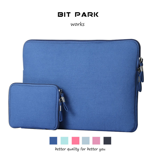 sale retailer 21fb2 44157 US $11.99  BIT PARK 11 15 Inch Laptop Sleeve Case Bag Cover for MacBook Air  / MacBook Pro / Surface Book / Ultrabook with Denim Fabric-in Laptop Bags  ...