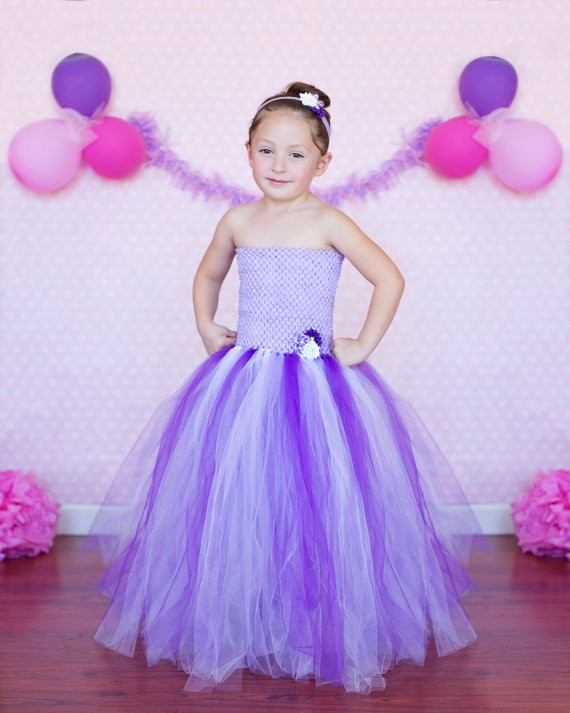 flower girl wedding dress fluffy ball gown USA birthday evening prom cloth purple tutu tulle baby bridesmaid long party dress ball gown sky blue open back with long train ruffles tiered crystals flower girl dress party birthday evening party pageant gown