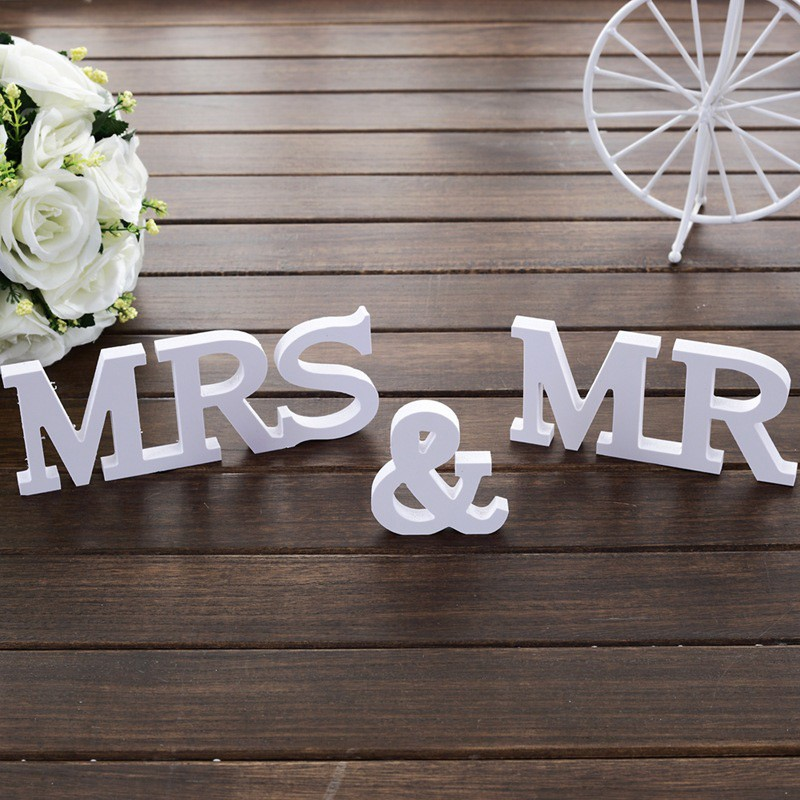 3 шт./компл. Mr & Mrs буквы знак ПВХ деревянные дома Свадебные украшения оптовая продажа