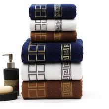 2019new luxury 3pcs lot 100 cotton towel set with 2 face washcloths + 1 bath towels bath set for family guest baths gym cheap mtuove Jacquard Woven Square Compressed Quick-Dry 5s-10s GEOMETRIC Plain Dyed Bath towel set Baumwolle 100 about 400g Machine Washable