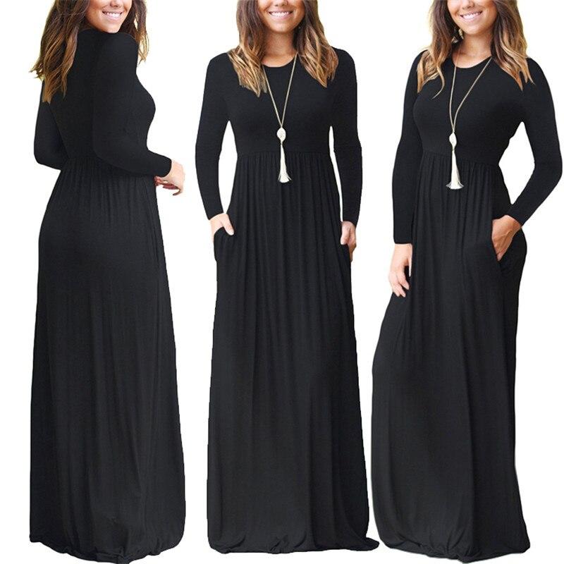 2019 Casual Elegant Long Maxi Dress Women Solid O-neck Long Sleeve Bodycon Party Dress Boho Beach Dress Tunic  Vestido Longo