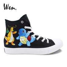 Wen Design Hand Painted Shoes Anime Pokemon Squirtle Dragonite Custom Canvas Sneakers Women High Top Black Men Flat Plimsolls