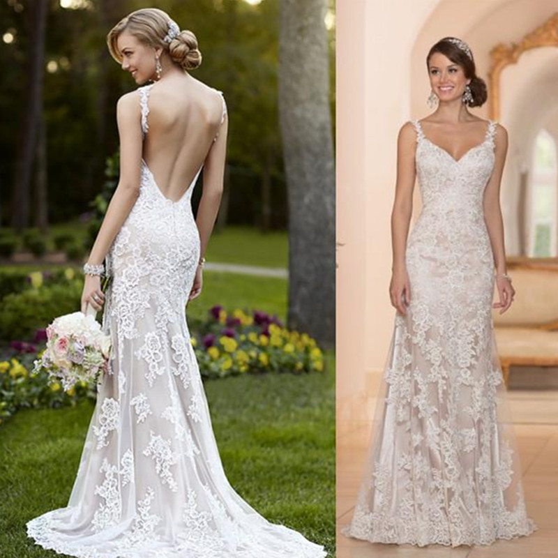 Newest 2016 Wedding Dresses Sheer With Lace Sheath