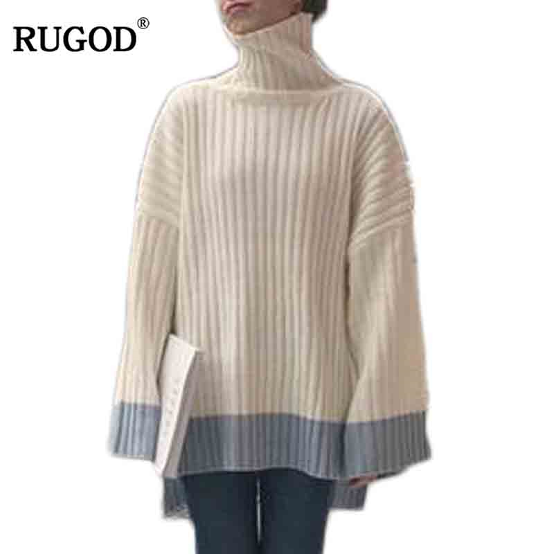 RUGOD Flare Sleeve Women Sweater Thick Loose Female Winter Pullover 2018 Christmas Sweater jersey mujer invierno