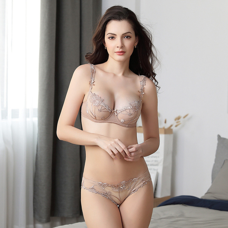 <font><b>Sexy</b></font> Embroidery Transparent Lingerie Ultra Thin Push Up Lace Bra Set Wire Underwear <font><b>Bralette</b></font> Set Lenceria <font><b>Mujer</b></font> image