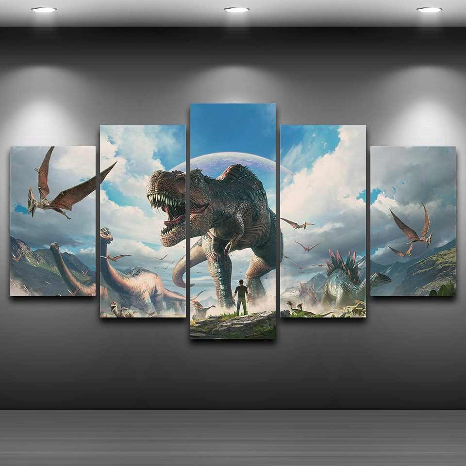 Canvas painting home decor wall art framework 5 pieces jurassic park dinosaurs pictures for living room hd prints animal poster