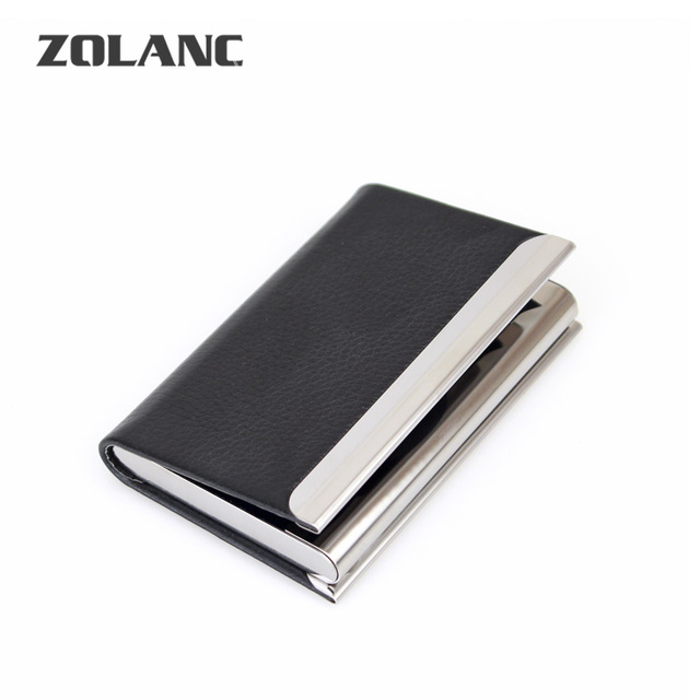 men pu leather business card holder metal id credit name card case organizer bank card women - Leather Business Card Case