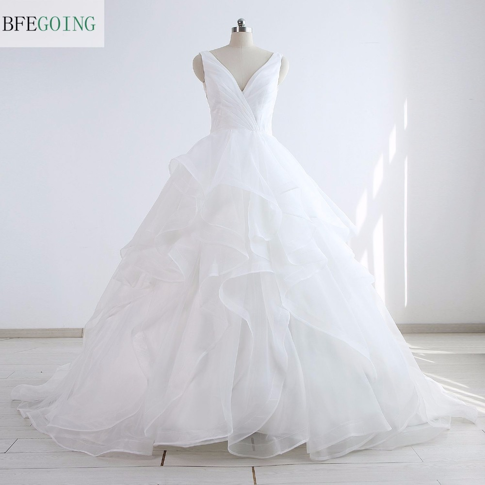 White Organza Sleeveless A line Wedding Dress Chapel Train V Neck Tiered Pleat Real Original Actual
