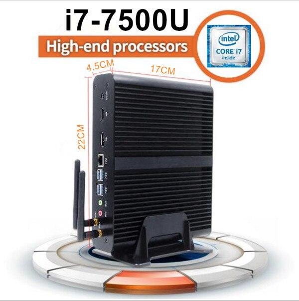 Eglobal 7th Gen Mini pc Windows 10 Kaby Lake Fanless Computer TV Box 4K HD Display HTPC 300M Wifi Intel HD Graphics 620 Micro PC