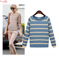 Women Color Patchwork Striped Knitted Pullovers Fine New Fashion Spring Bottoming Sweatershirt Sweater