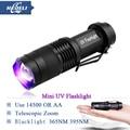 Mini blacklight light 365nm 395nm UV Lamp uv flashlight led cree q5 penlight Fluorescent agent detection