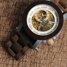 Woody Automatic Mechanical Skeleton Vintage Watch