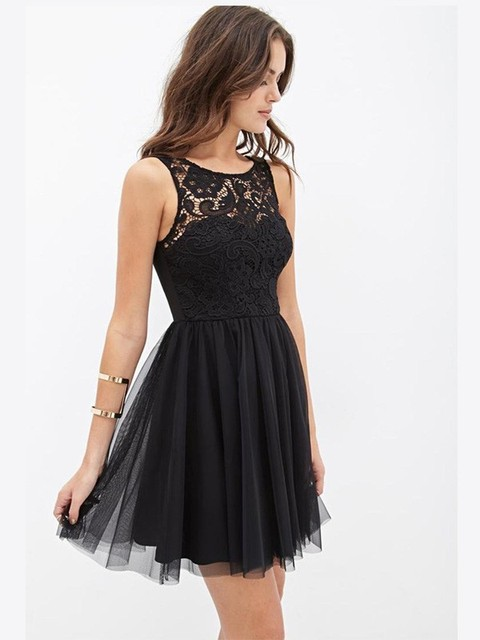 Black Lace Top Tulle Skirt Short Homecoming Dress Sleeveless Robe De Cocktail Courte Cheap Vestido Curto Festa A Line Dresses