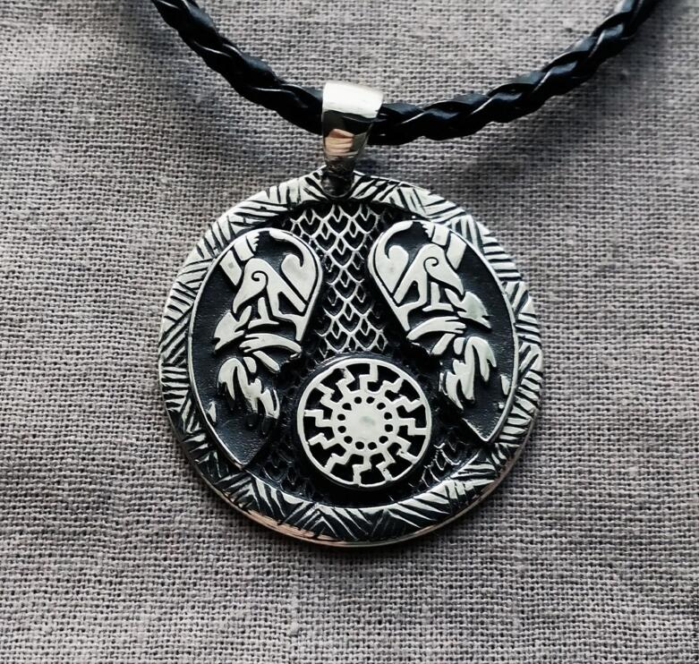US $32 0 |10pcs wholesale Sun Wheel Black Sun Kolovrat Slavic Amulet  pendant Slavic Sun Wheel Kolovrat necklace Men Ethnic Jewelry-in Pendants  from