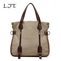 LJT Autumn New Fashion Retro Shoulder Messenger Bag Multi-function Canvas Bag Female High Capacity Students School Bag For Girls