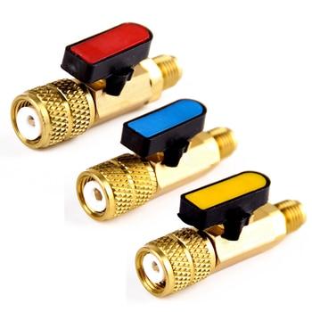 3 pcs 3 색 r410a 냉매 밸브 ac 충전 호스 냉동 매니 폴드 게이지 용 황동 스트레이트 볼 밸브 mayitr