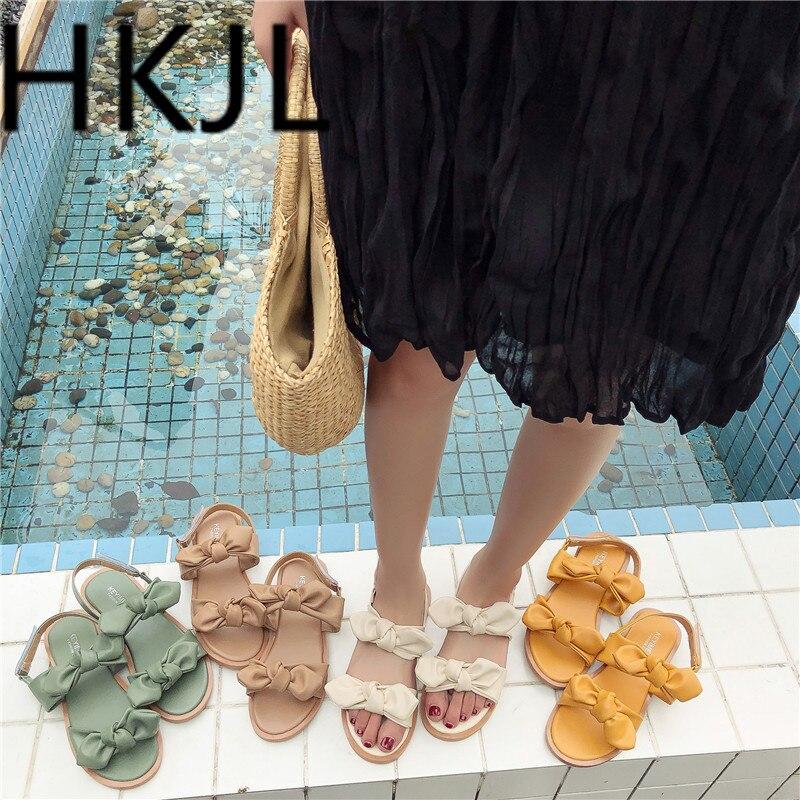 HKJL Fashion 2019 summer new beach shoes sandals female soft bottom Roman HOOK & LOOP bow toe A480