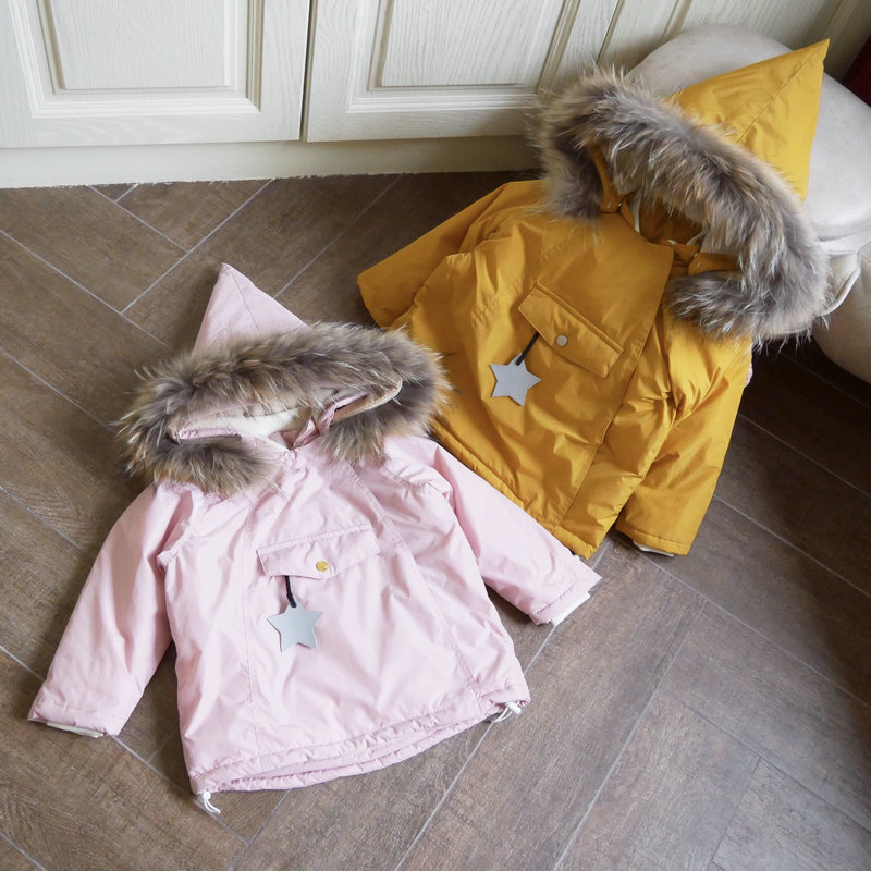 baby girl winter jacket girl coat real fur hooded fleece worm Girl parka kids Winter Jacket children outerwear new year costume 2017 new baby toddler girl autumn winter horn button hooded pea coat outerwear jacket