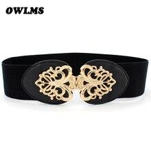New Popular Free shipping Fashion cummerbund Leather cutout gold buckle elastic waist belt strape wide cummerbund belts women