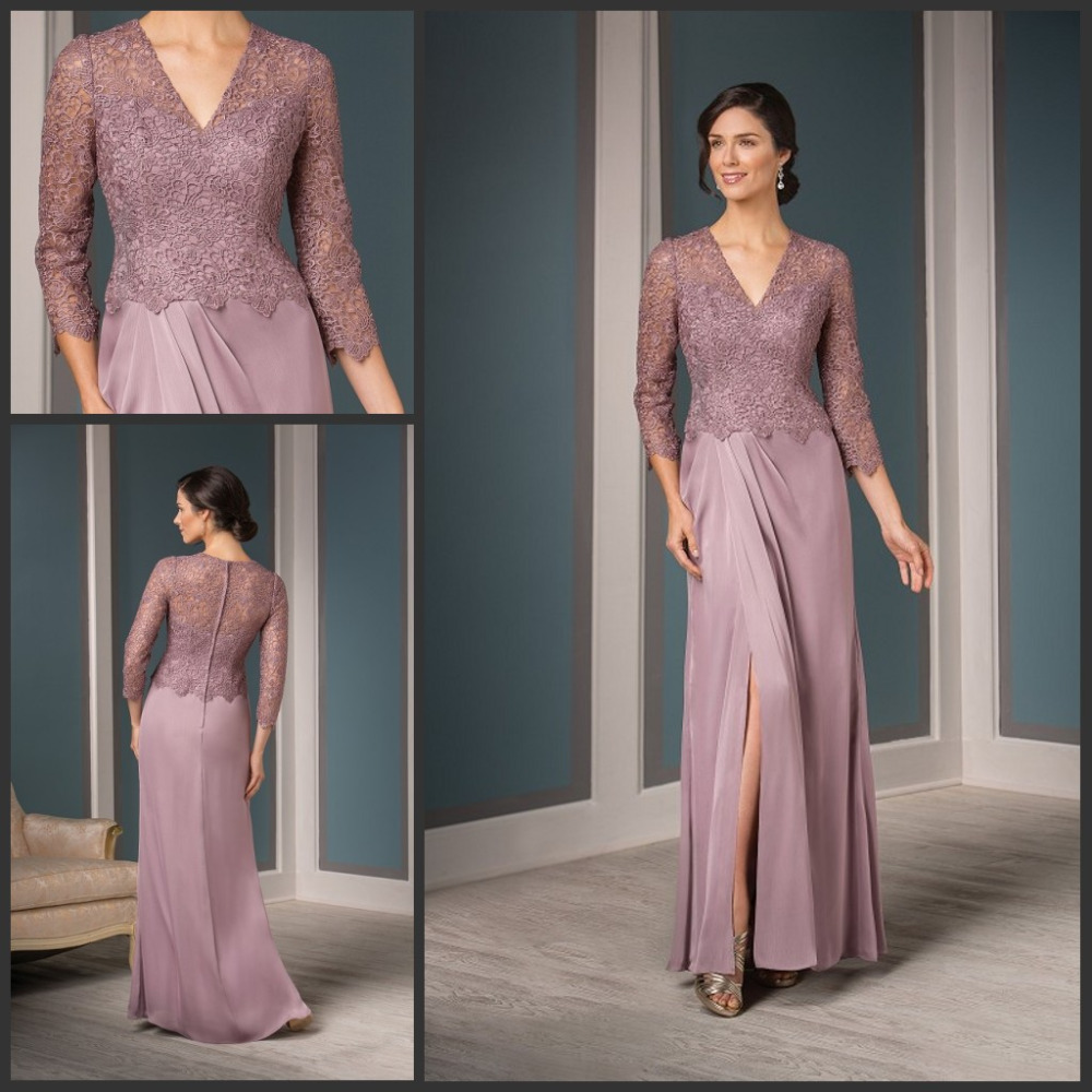 Mother Of The Bride Dresses: Three Quarter Sleeves Dusty Rose Mother Of The Bride