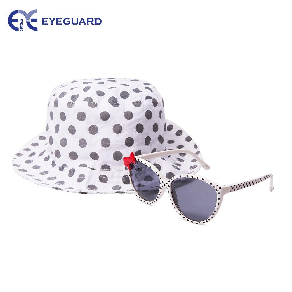 EYEGUARD UV400 Bowknot Design Kids Sluneční brýle a sluneční čepice Combo Children Outdoor Cap