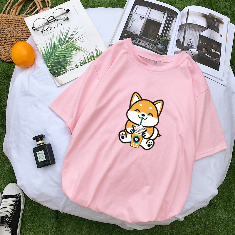 Harajuku Tshirt Women Causal Kawaii Funny Shiba T Shirt Cotton Tops Short Sleeve Tee Shirt Femme Streetwear Loose Korean Clothes
