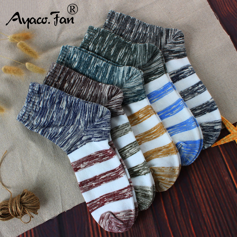 2019 Men's Cotton Socks New 5 Pairs / Lot Patchwork Business Men Socks Breathable Autumn Winter Meias For Male US Size(7.5-12)