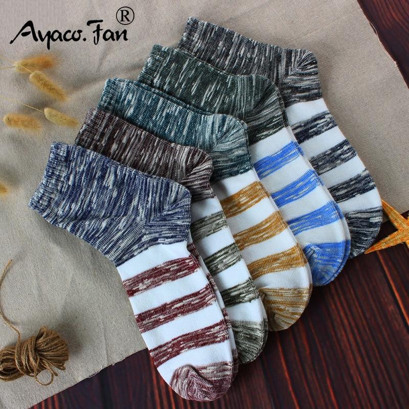 2019 Men's Cotton Socks New 5 Pairs / Lot Patchwork Business Men Socks Breathable Autumn Winter Meias For Male US Size(7.5-12)