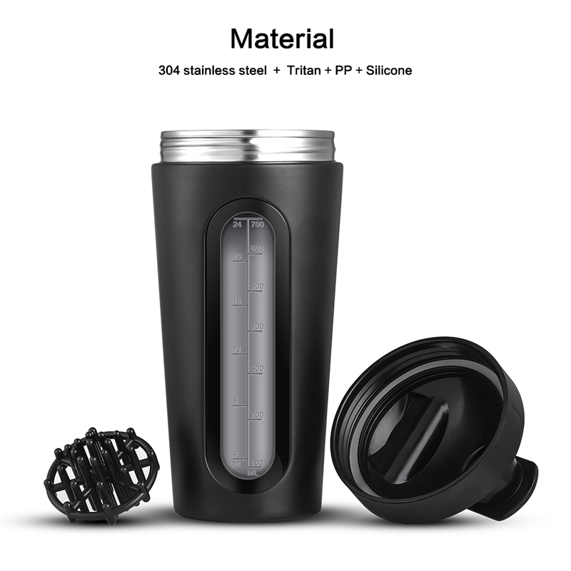 Image 3 - 700ml Protein Shaker Stainless Steel Water Bottle Outdoor Gym Sports Fitness Training Drink Powder Milk Mixer My Water BottleWater Bottles   -