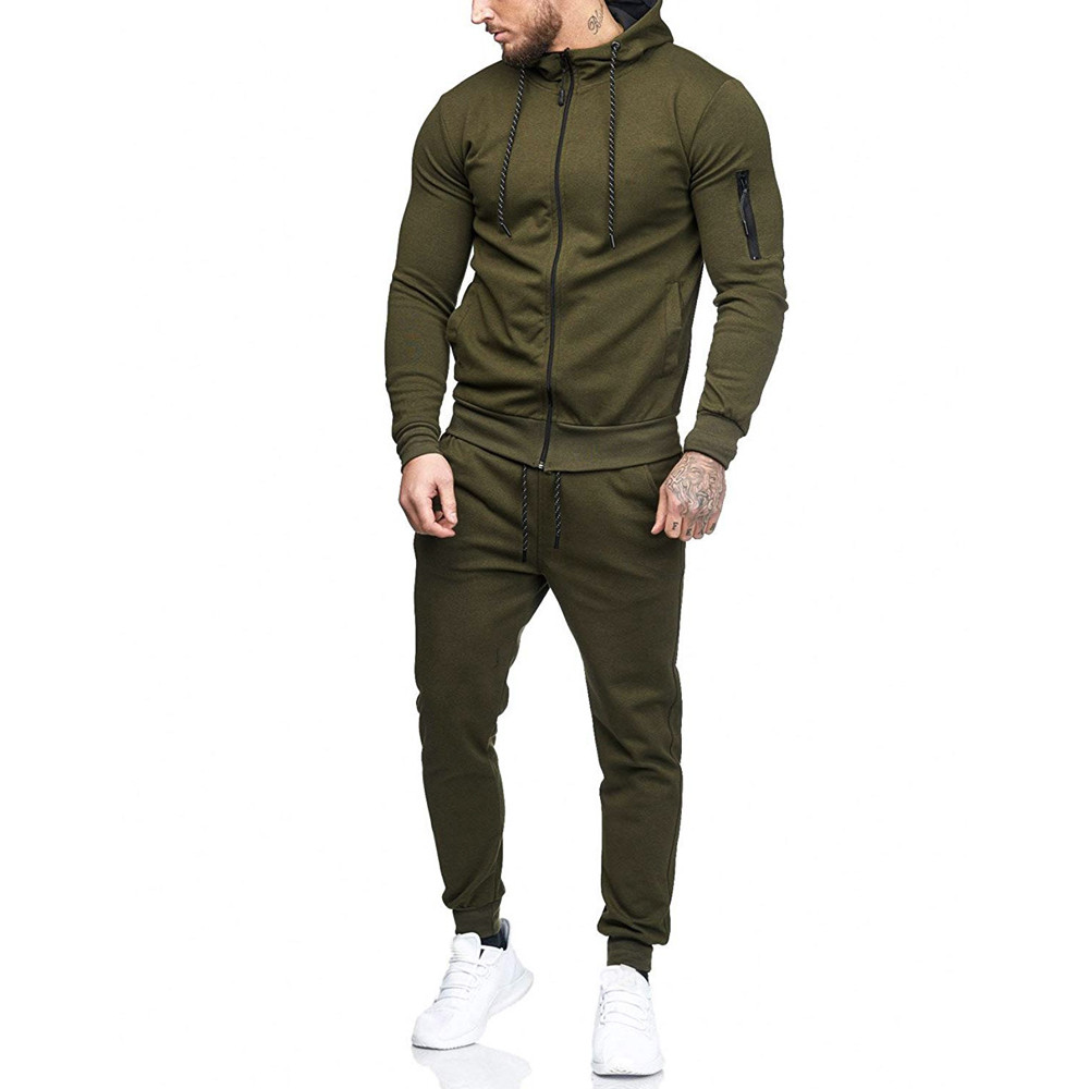 HTB1TfTisgZC2uNjSZFnq6yxZpXaA 2019 fashion Patchwork Zipper Sweatshirt Top Pants Sets Sports Suit solid color slim Tracksuit High Quality Pullover clothing