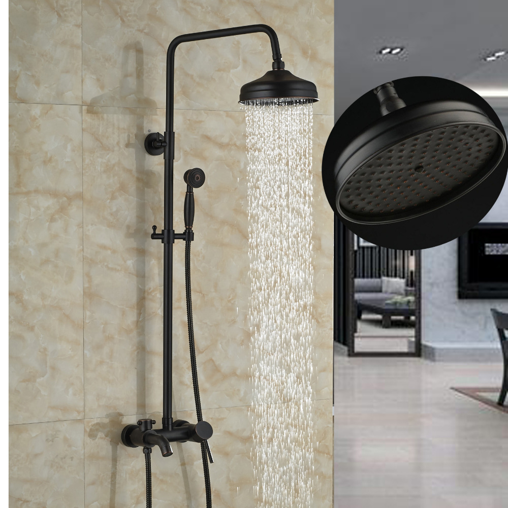 Wall Mounted 8 Oil Rubbed Bronze Round Rain Shower Head Tub Spout Hand Sprayer