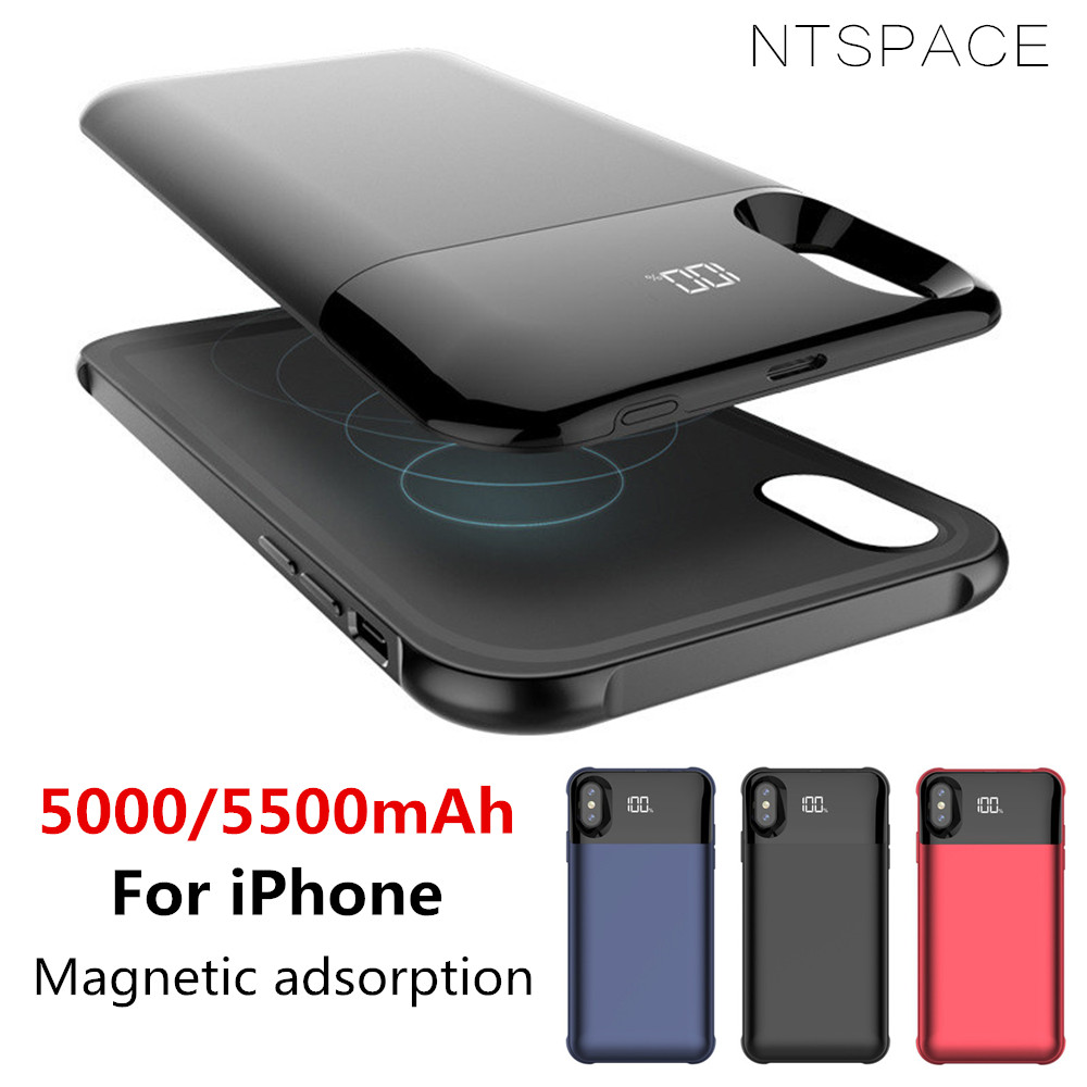NTSPACE Wireless Magnetic Charger Phone Case for iPhone XS MAX XR Battery Charger Case for iPhone X XS Power Bank Charging CoverNTSPACE Wireless Magnetic Charger Phone Case for iPhone XS MAX XR Battery Charger Case for iPhone X XS Power Bank Charging Cover