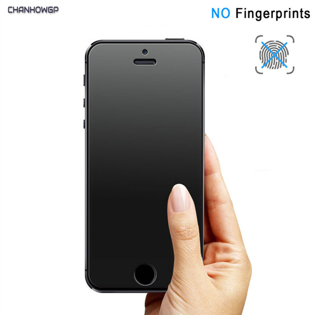 aa5332bb7890dd No Fingerprint Matte Tempered Glass For iPhone 5S 5 5C SE 6 6S 7 Plus 7S  Screen Protector For Apple iPhone 8 Plus 10 X Cover 9H