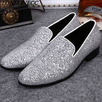 Summer Italy Design Sliver Rhinestone Party Dress Men Flats Fashion Shoes Casual Outdoor Loafers Shoes High