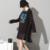 [Soonyour] 2017 outono a nova listagem após o longo elegante plus size carta casual black dress atacado as18041xl
