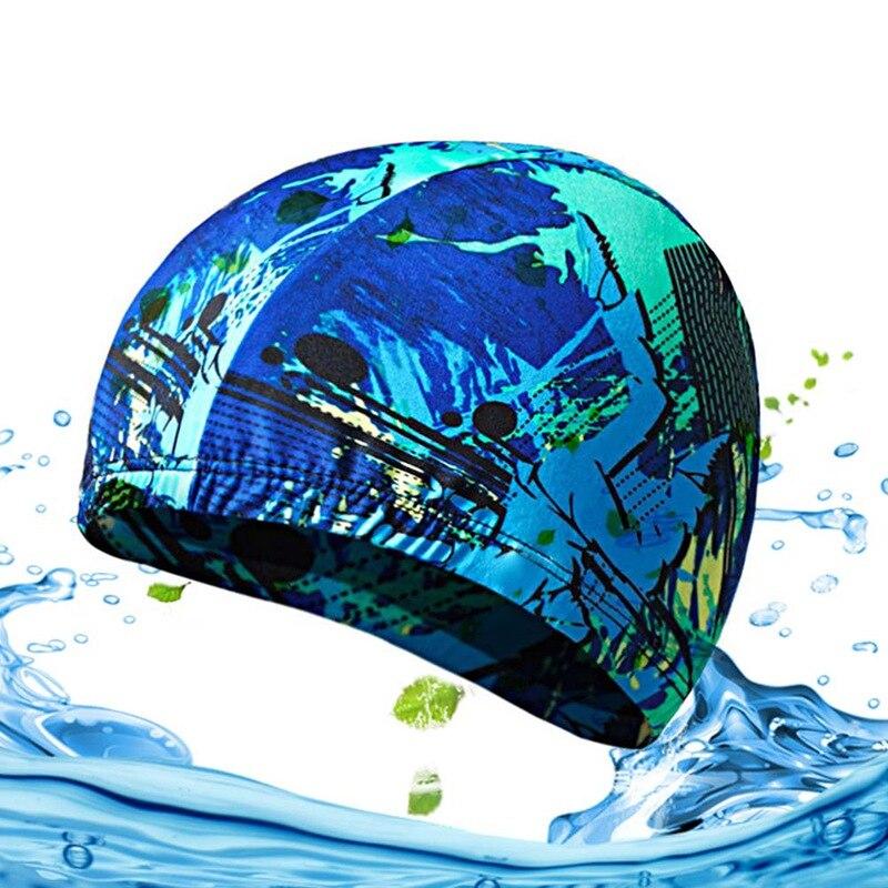 Эластичные шапки для плавания для взрослых, водонепроницаемые эластичные удобные для защиты ушей, длинные волосы, летняя шапка для купания ...