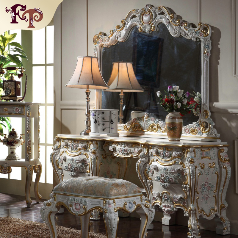 2016 Full Set Russia Hot Elegant Home Furniture Dresser With Mirror And Dressing Table And