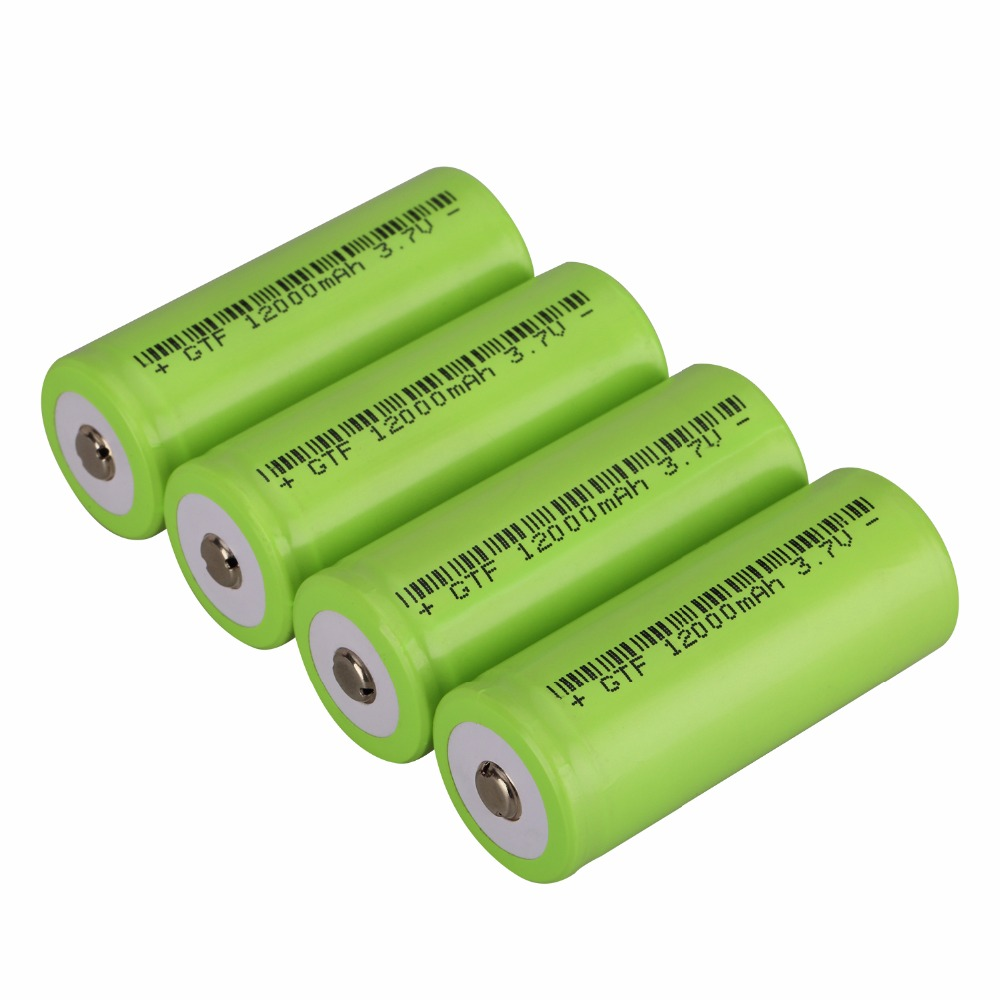 GTF 4PCS 26650 with Top 3.7v 12000mAh 26650 Lithium Ion Battery 3.7V Rechargeable Battery Suitable for flashlights image