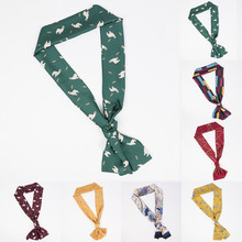 Vintage Elegant Mujer Satin Feel Designs Silk Pattern Scarf Women Soft  Square Skinny Small Head Neck Hair Tie Band