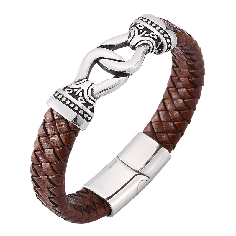 Fashion Men Jewelry Punk Rock Brown Braided Leather Charm Bracelet for Man S.Steel Magnet Clasp Male Leather Bangle Gift SP0170