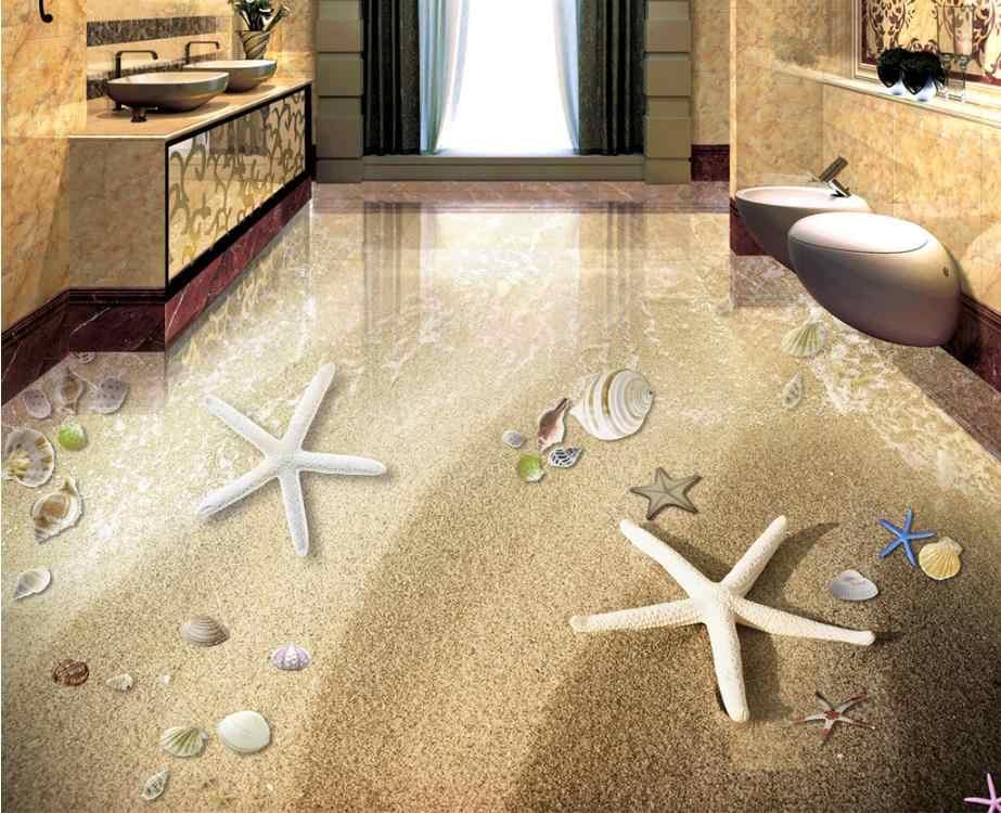 3d الأرضيات البحر ستار قوقعة الأرضيات الفينيل pvc الاطفال ورق حائط لحجرة النوم ورق حائط لفة لغرفة المعيشة الطابق بلاط