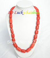 Wholesale free shipping >>natural 18 20mm column pink coral necklace