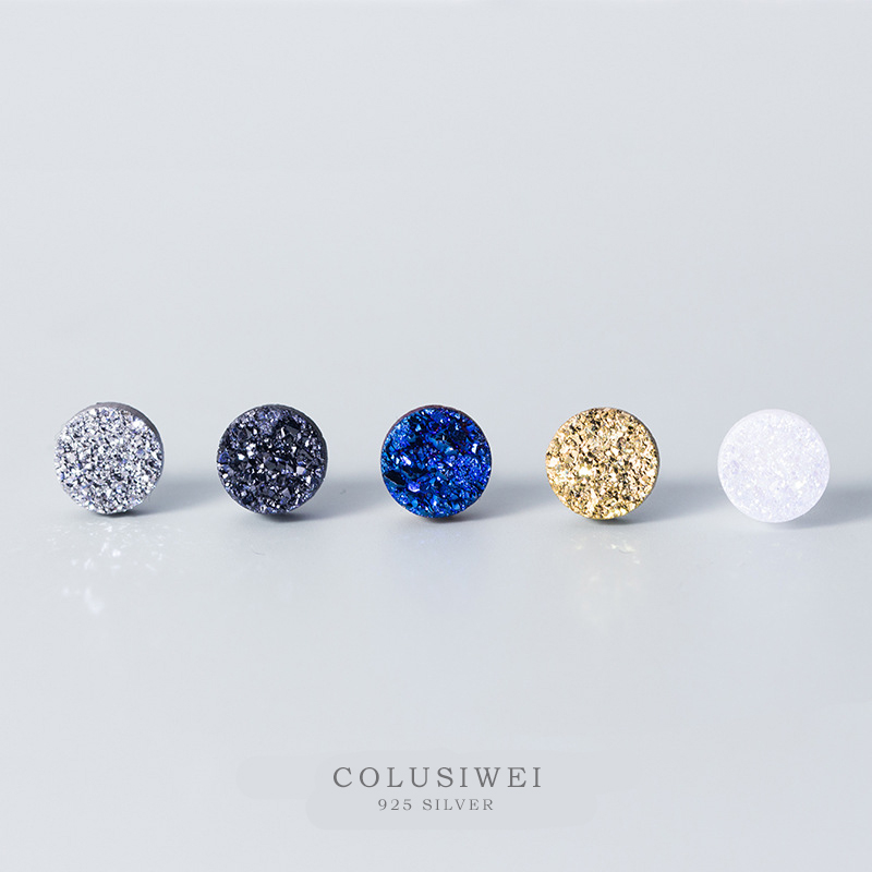 Colusiwei Fashion Stars Lover Earrings for Women Men 6 Color Crystal Stud Earrings Unisex Real 925 Sterling Silver Studs Jewelry