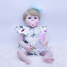 blue eyes bebe doll reborn 55cm Non-toxic material Silicone reborn baby doll Lifelike blond princess Bonecas girl play house toy все цены