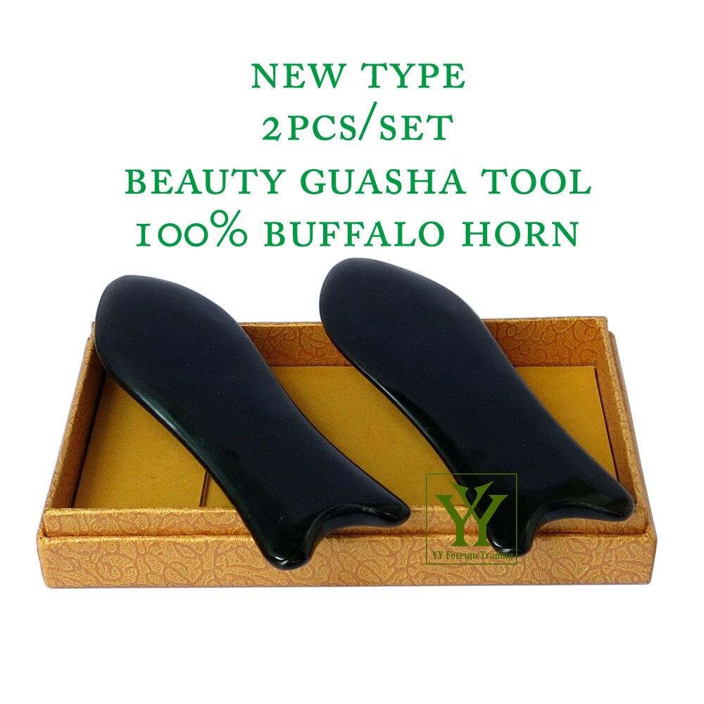 New Arrival 100% buffalo horn thicken high polishing beauty guasha tool 2pcs fish plate new arrival 100