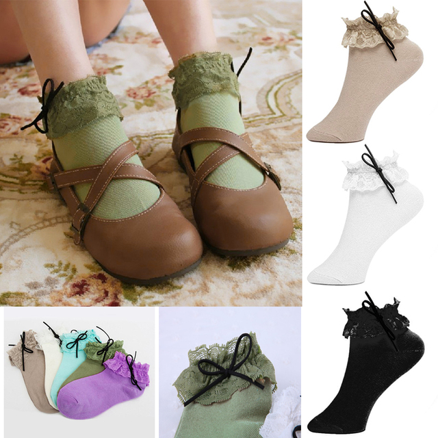 2558ebeaf4 US $1.49 46% OFF|Ladies Women Vintage Lace Ruffle Frilly Ankle Socks Lady  Princess Girls Sexy Floral Lace Ruffle Frilly Socks Cotton Socks Gift-in ...
